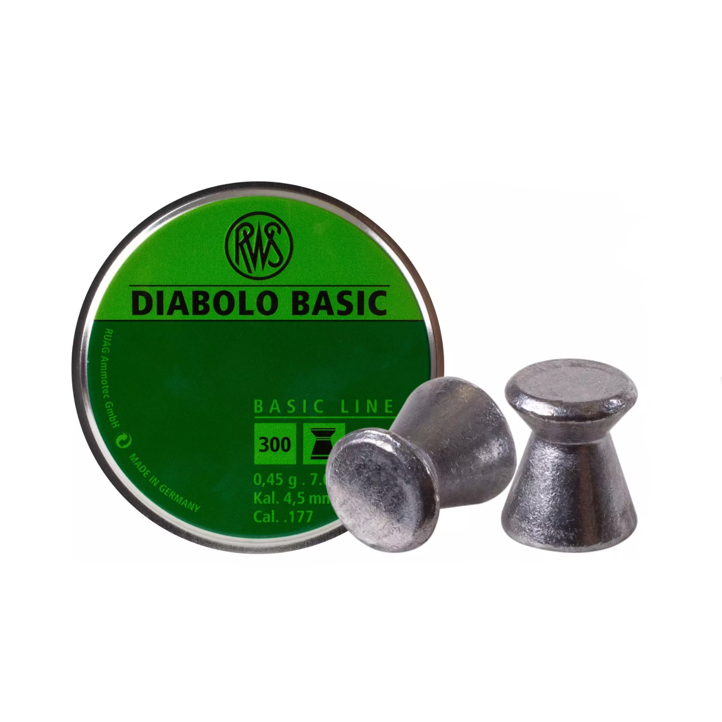 RWS Diabolo Basic .177 Cal Pellet 7 Grains Wadcutter Lead 300ct